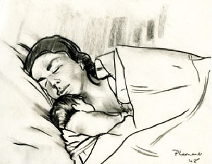 Mother and Child Asleep Image